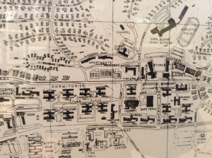 Detail from map of Oak Ridge prepared by Skidmore, Ownings & Merrill et al. Guest House is located in the middle on the upper right side. Map courtesy of the American Museum of Atomic Energy.