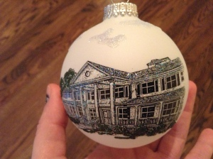 Hand painted Christmas ornament of the Guest House / Alexander Inn purchased at the museum gift shop.