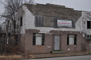 """Exterior shot. Banner reads, """"Future Home of the Colored Hotel Museum & Outreach Center."""" Photo taken yesterday"""