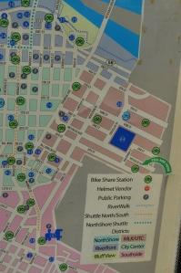 Bicycle Transit Station Map located on the site of the former YWCA on 8th Street.  Map labels area as UTC.