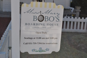 Sign in front of Miss Mary Bobo's