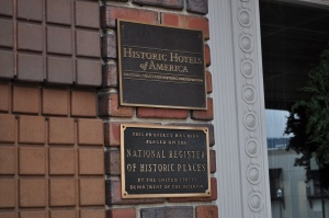 Historic Hotels of America and National Register plaques by the front door of the Chattanooga Choo-Choo.