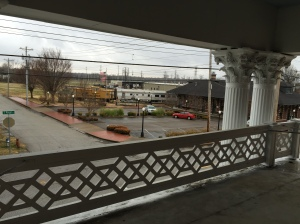 View of historic railroad depot from second floor balcony of the Neely House.
