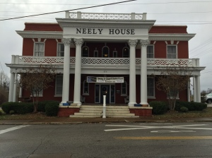 The Neely House in Jackson. Historically it functioned as a railroad hotel. Today it houses small businesses including a restaurant on the ground floor.